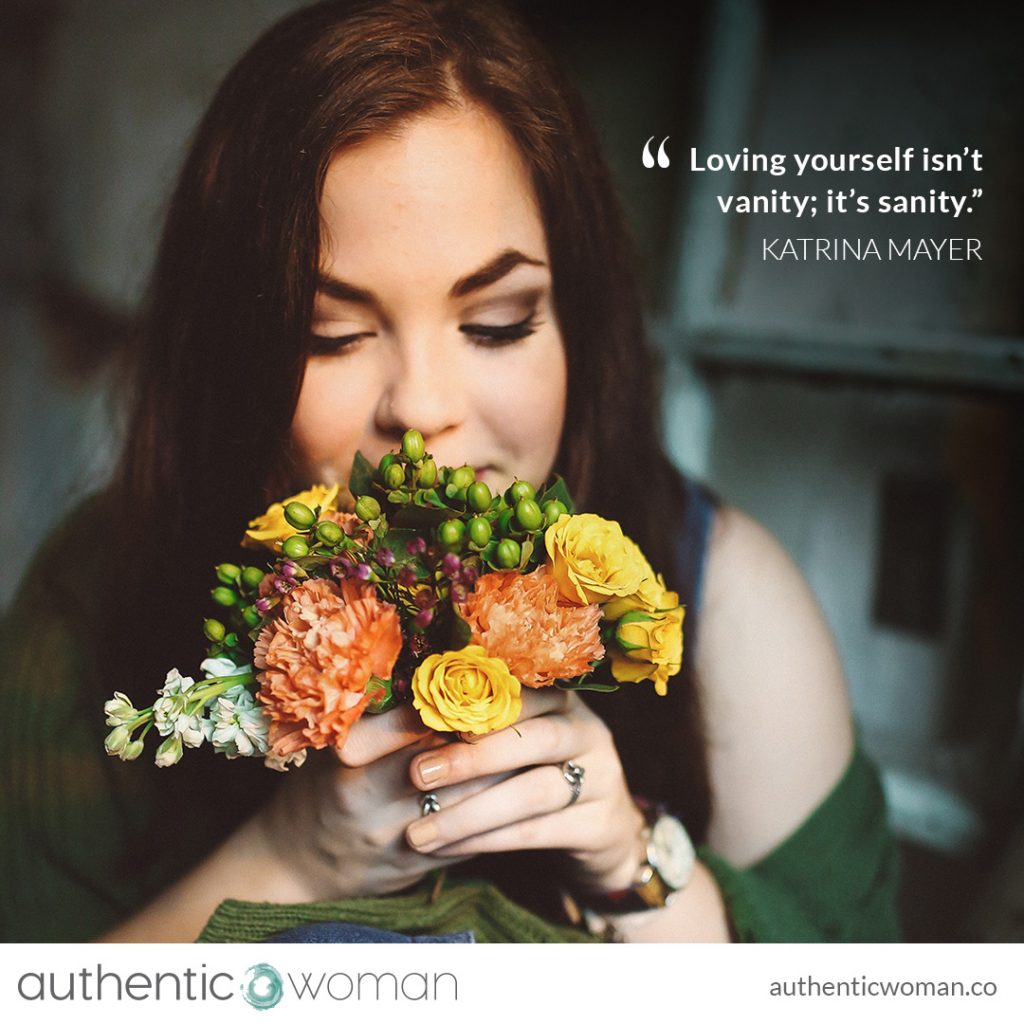 Authentic woman with flowers of self-love