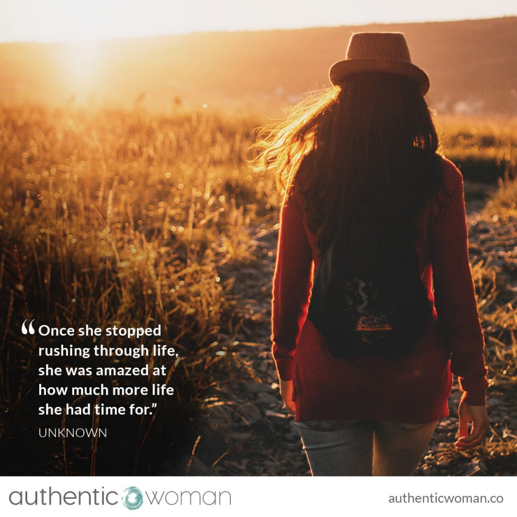 Authentic woman slowing down